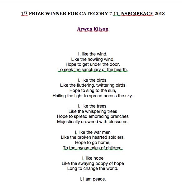 THE WINNER OF CATEGORY 7-11 NSPC4EACE 2018